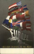 Poster Art Sailing Schooner Ship Country Flags of Europe Postcard