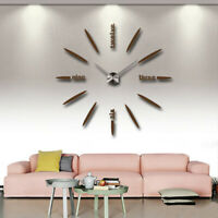 Modern 3D DIY Wall Clock Kit Watch Acrylic Mirror 3D Stickers Decals Home Office