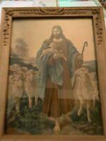 Vintage Jesus Christ The Lord Is My Shepherd Print In Ornate Gesso on Wood Frame