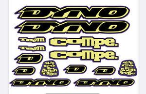 Dyno Air 1994 Decal Set Stickers Old school BMX restauration Chrome//vert fluo