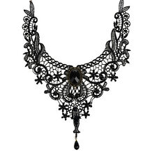 Gothic Lace Neck Collar Choker Necklace Flower Crystal Tassel Chain Sexy Jewelry