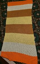 Unique Handmade Crochet Afghan Chair Throw 73x 32 Candy Corn Autumn
