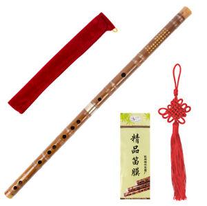 Kmise Chinese Bamboo Flute Dizi D/E/F/G Key Professional w/ Bag Membrane Knot