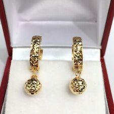 18k  solid yellow gold hoop earring earrings diamond cut heart kids cute #624