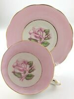 Vintage Teacup and Saucer Fine Bone China Roslyn Made in England Pink Rose T018