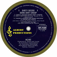 AC/DC Dirty Deeds Done Dirt Cheap record label vinyl sticker. Albert Records