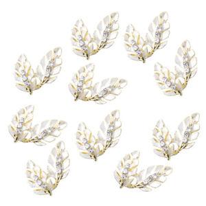 10x Rhinestone Alloy Leaf Button Wedding Decor Embellishments Flatback DIY