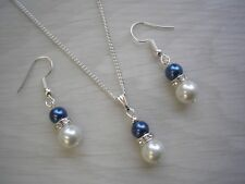 Pearl & Diamante Pendant Necklace & Earrings Set for Women Girls Bridesmaids 57S