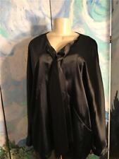 Simply Vera Wang XL/16 New Black Satin Tie Down Neckline Dolman Sleeve Tunic Top