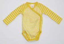 Hanna Andersson Organic Yellow White Striped Kimono Bodysuit, 60 (US 3-6 mos.)