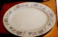 "Fine China of Japan Castlecourt Oval Serving Platter 14"" Pink & Blue Flowers"