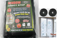 2 x Large Black Window Insect Screen Mesh Net Mosquito Fly Bug Netting UK