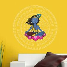 Decals Design 'Krishna with Mantras' Wall Sticker (PVC Vinyl, 60 cm x 60 cm)