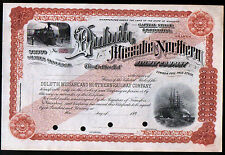 Duluth Missabe and Northern Railway - c1898 - Minnesota RARE Stock Certificate