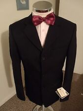 "BUSINESS SOLUTIONS Men's Navy Suit Jacket C36"" Reg Drop Classic Fit W/Blend BNWT"