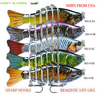 Fishing Lures 5Pack Crankbaits Bass Minnow Trout tackle 6-Segment Swimbait Hooks