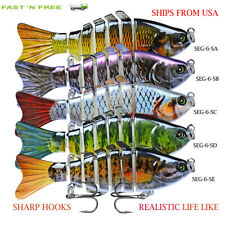 Fishing Lures 5Pack Baits Crankbaits Shrimp Bass Minnow Trout 8-Segment Swimbait