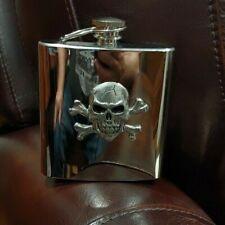 Raised Skull & Crossbones, Pirate Pocket Flask Stainless 8 oz. Never used