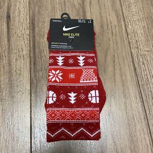 Nike Elite Crew Socks Red Christmas Snowflake Dri-Fit Size Men: 6-8 Wmns:6-10