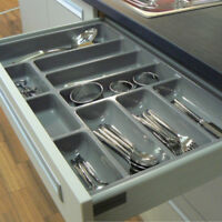 2x High Quality Plastic Cutlery Trays For Kitchen Drawers, To Suit 600mm Drawer