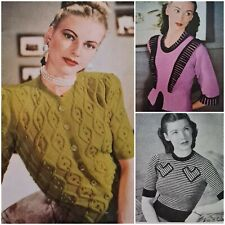 1940s Puff Sleeve Cable Bobble Lace Knitting Pattern Stitchcraft 164 Vintage