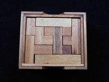 Pentominoe wood brain teaser puzzle game w/cover wooden