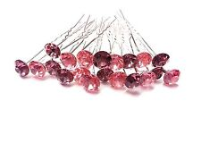 20pcs x 8mm PINK Glass Crystal Rhinestone Diamante Wedding Bridal Hair Pin
