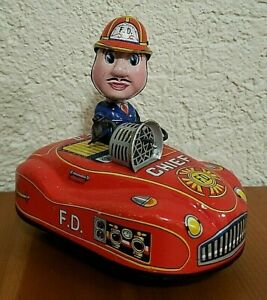 Bump N Go KO Yoshiya Kobe Yoko Wind Up Siren Fire Chief Friction Motor Toy Car