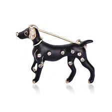 Austrian Crystal Dalmation Spotty Dog Brooch. 18K Gold Plated Black Enamel &