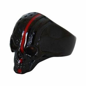 Firefighter Red Stripe Skull Ring Stainless Steel American Patriot 128 / 2333