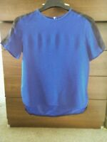 Zara Short Sleeve Zip Back Cowl Neck Top T-shirt Blue Size  EUR S