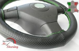 FOR BUICK SKYHAWK 80-89 BLACK PERF LEATHER STEERING WHEEL COVER  GREEN STITCH