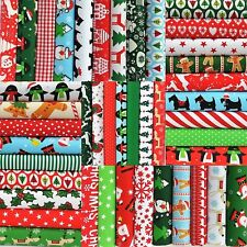 """36 x 4"""" CHRISTMAS FABRIC PATCHWORK SQUARES POLYCOTTON FESTIVE FUN SEWING CRAFT"""