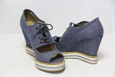 Spring Summer Open Toe Denim Wedge Sandals Platform Lady Fashion Shoes size 6