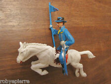 soldatino vintage plastica toy soldier 9 cm soldato a cavallo bianco nordista
