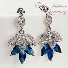 18K White Gold GP Made With Swarovski Crystal Luxury Sapphire Cluster Earrings