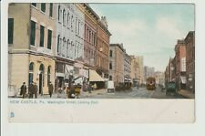 New Castle Pennsylvania Washington St looking East Trolley PA View UN-POSTED