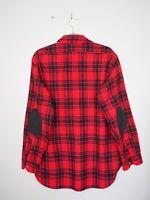 Pendleton Virgin Wool Elbow Patch Flannel Shirt Size L Red Black  Plaid