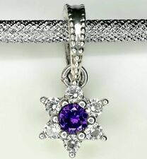 Authentic Pandora 925 ale silver beads charm Dangle Forget Me Not Purple 791833