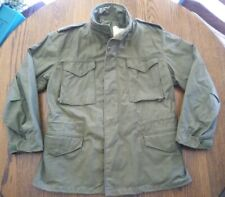 Vtg 70s M65 Jacket sz M Military Cold Field Alpha Ind 1979 hood scovill green