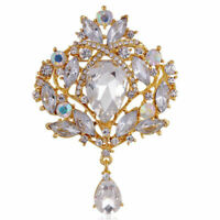 I Vintage Style Extra Large Gold Diamante Crystal Drop Bridal Brooch Pin Gift