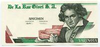 De La Rue Giori Specimen Test Trial UNC Banknote Beethoven Varinota Uniface #1