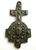 Schutzamulett Pilgerkreuz Amulett Weingarten Bronze 18.Jh. original! ca. 45x23mm