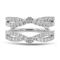 0.65 Ct Round Cut D/VVS1 Diamond 10k White Gold Over Enhancer Wrap Wedding Ring