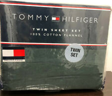 Tommy Hilfiger 3 Piece Twin 100% Cotton Flannel Sheet Set: Hunter Green