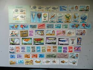 105 Different Aeroplane/Aviation Stamps