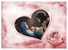 Quadro moderno 100x70 sacra famiglia madonna gesù capezzale rosa cuore nascita