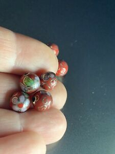 4 Vintage Red w Pink Flowers Leaves Cloisonne Chinese Enamel Round Beads 8mm