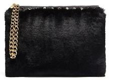MIMCO Cuddle Large Pouch Black Faux Fur Evening Bag Gold Hardware BNWT RRP$199