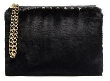 Mimco Cuddle Large Pouch Black Faux Fur Evening Bag Gold Hardware